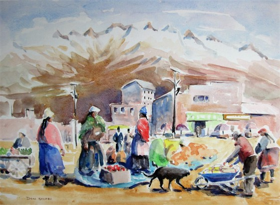 Market near Oruro, Bolivia, Watercolour, Sold