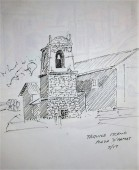 A pen sketch of the bell tower in the main plaza on Taquile Island, Peru.