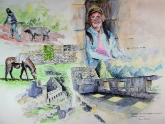 Watercolor and Pen sketches from Machu Picchu and The Salkantay Trail in Peru