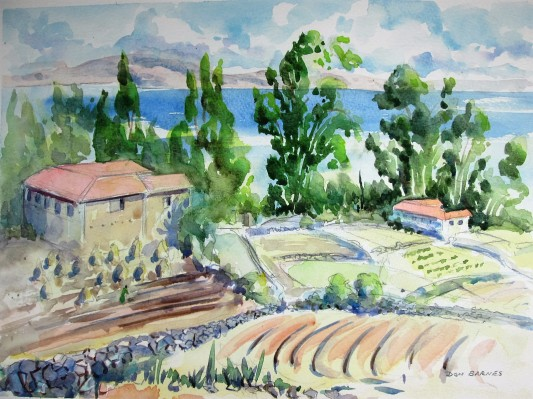 Watercolor and Pencil Sketch looking out over Lake Titicaca from Amantani Island. Available for sale.