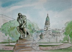 "Pencil and Watercolor sketch of Rodin sculpture ""The Thinker"" with the Plaza Congreso in the back ground."