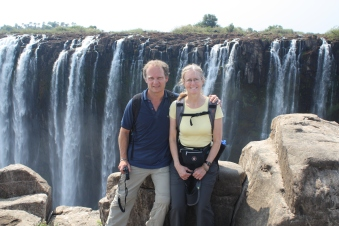 Lyn and I at Victoria Falls, Zimbabwe