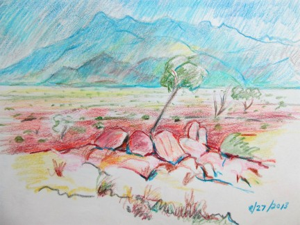 Coloured pencil sketch of the Namib Dessert. Sketched on location\