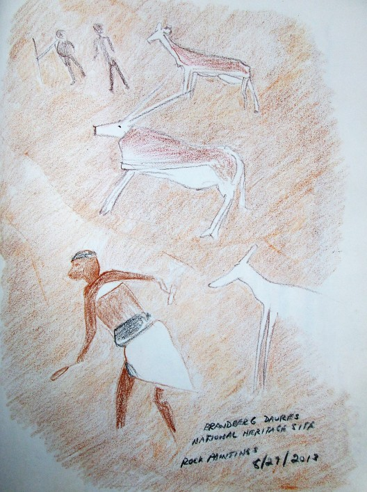 Coloured pencil sketches of rock art done on location at Brandberg Daures National Heritage Site, Namibia