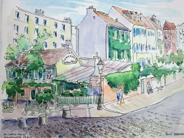 Au Lapin Agile: A tavern in Montmartre where Piccasso and Renoir would go. Pen and watercolor wash
