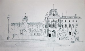 A sketch I did of the Louvre 39 years ago in 1978. The glass pyramid entrance way was not built until the 1980's.