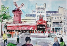 The Moulin Rouge in Montmartre. I did this sketch from inside the Starbuck's Coffee Shop. Oh well, they had the best view!