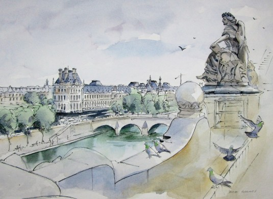 The Louvre seen from the Musee D'Orsay, Paris