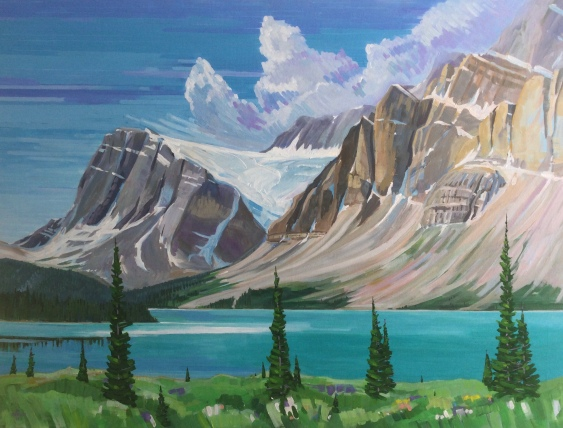 Bow Lake with the Crowfoot Glacier, Banff National Park